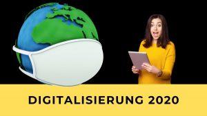 Erde mit Mundschutz gegen Corona, Frau die für Digitalisierung steht in gelbem Pullover