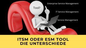 Figur sitzt mit Laptop auf Fragezeichen und zeigt auf Unterschiede zwischen IT Service Management, Enterprise Service Management und Service Management