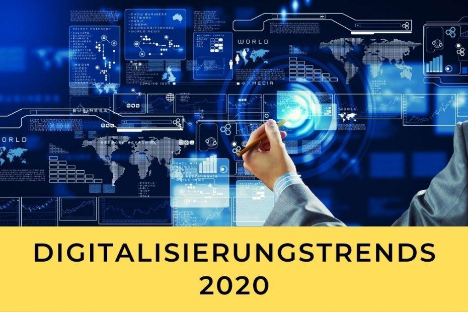Schriftzug Digitalisierungstrends 2020 vor gelbem Balken, Bild mit Technologien in blau